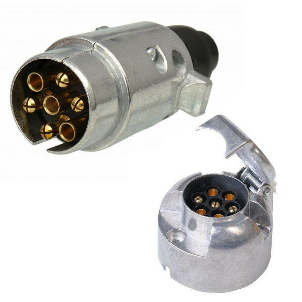 2pcs Trailer Plug Socket 7-pin Metal Set Car Trailer Coupling Socket Bagged