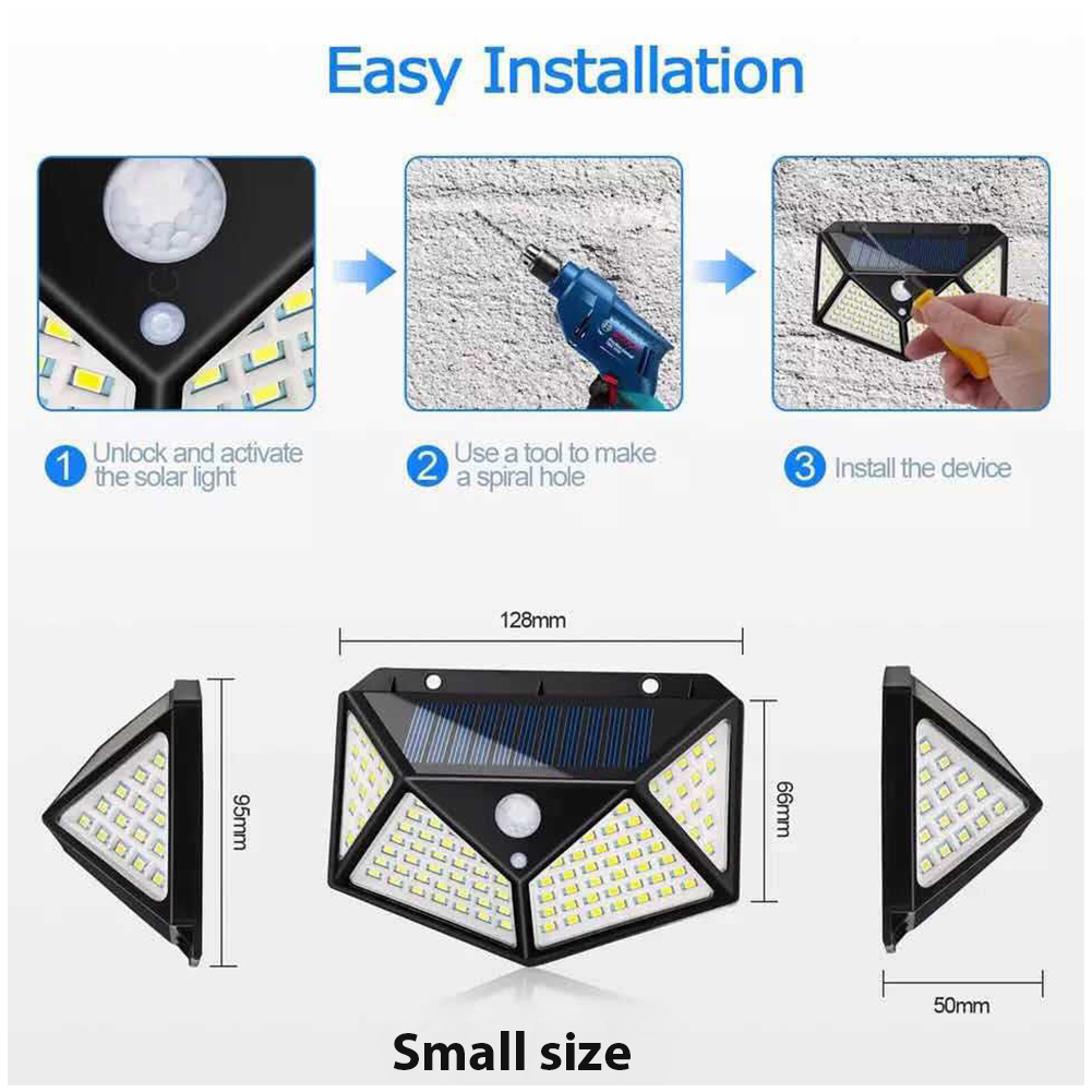 LED Solar Power Wall Light Motion Sensor Waterproof Lamp for Outdoor Garden Yard 100LED small