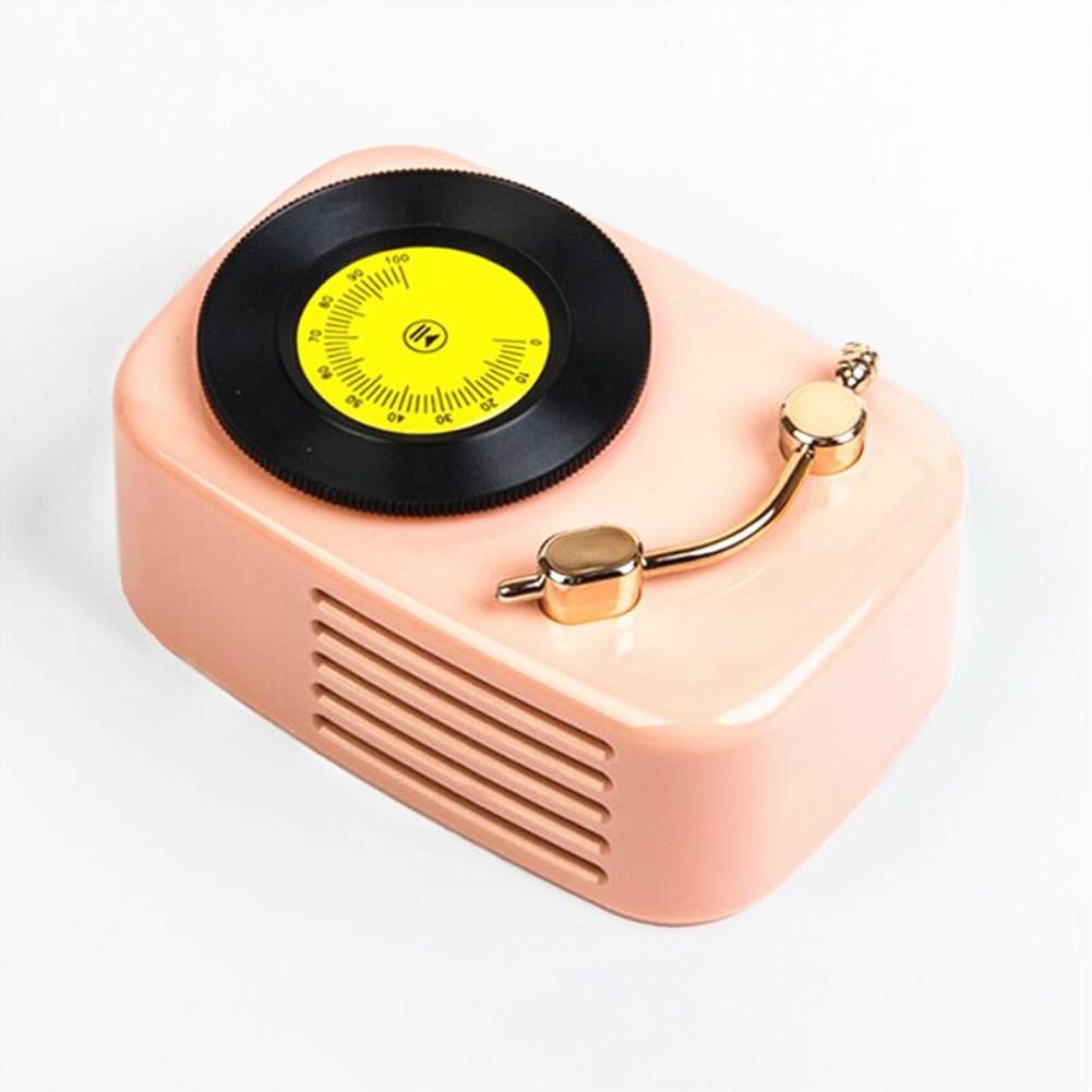 Retro Gramophone Wireless Portable Subwoofer Plug-in Card Mini Bluetooth Speaker Pink_Standard