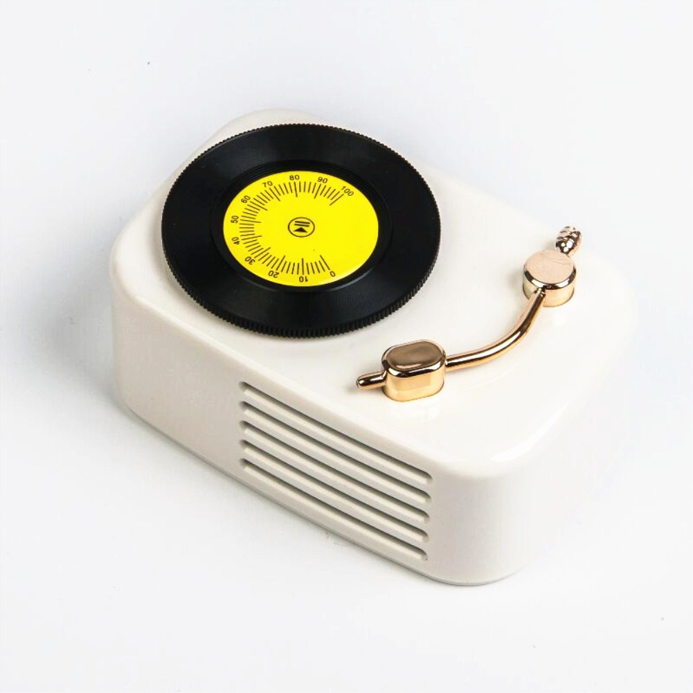 Retro Gramophone Wireless Portable Subwoofer Plug-in Card Mini Bluetooth Speaker white_Standard