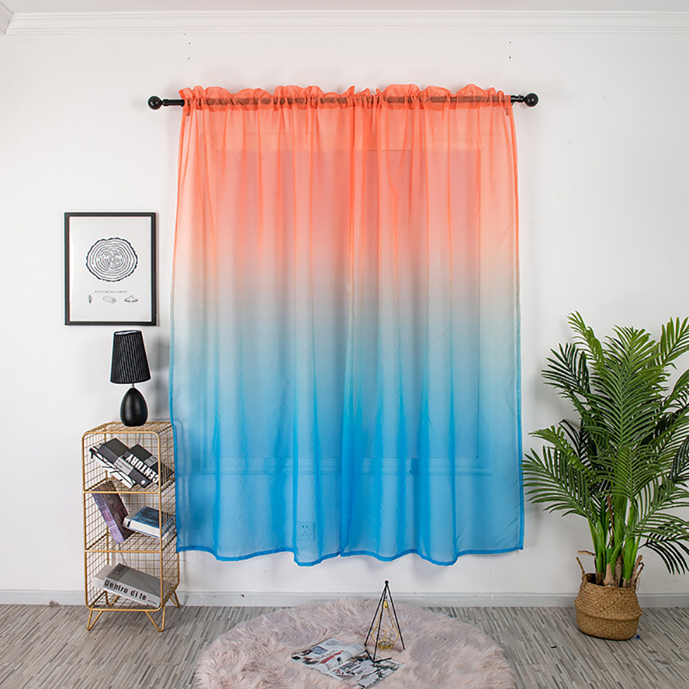 Gradient Color Window Curtain Tulle for Home Bedroom Living Room Kids Room Balcony  Orange red blue gradient_1 * 2 meters high