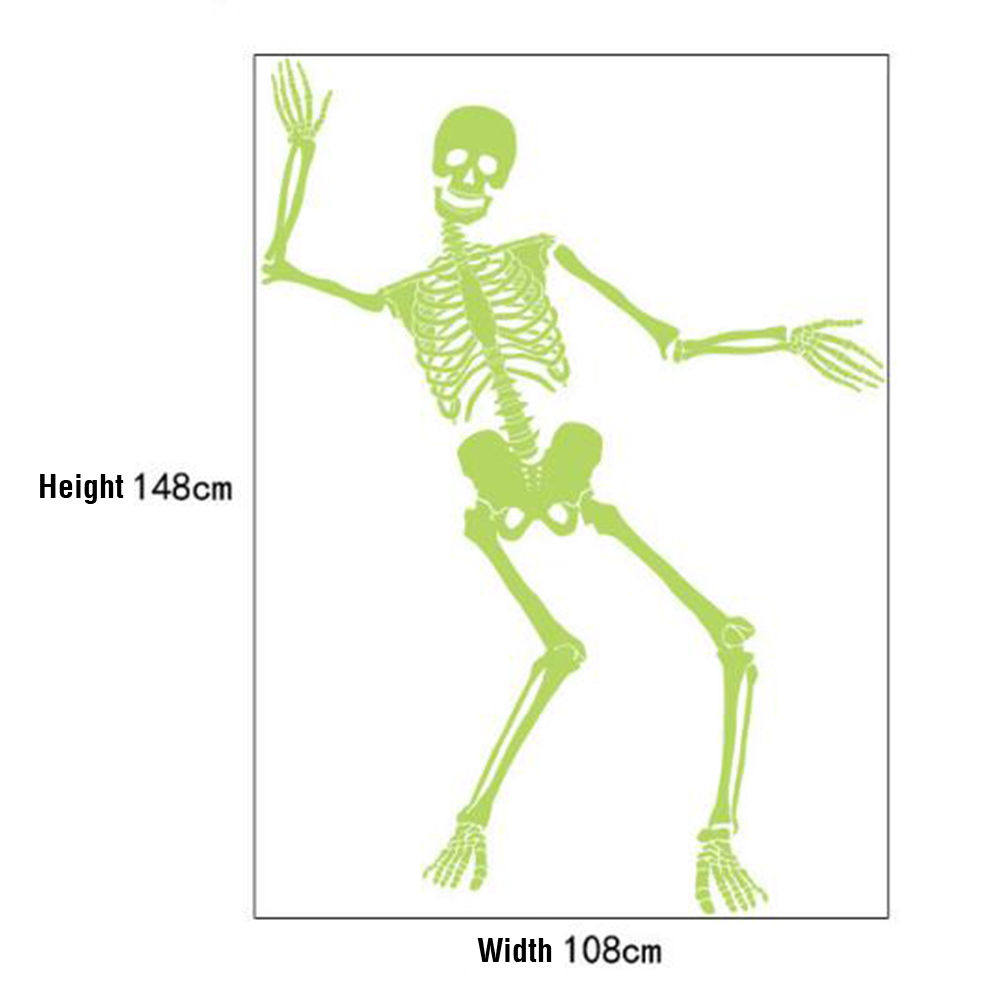 Fluorescence Skeleton Wall Sticker for Halloween Party Haunted House Bar Decor  60cm*90cm