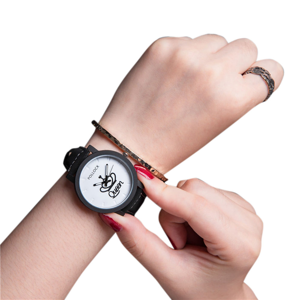 Queen/King Stylish Lovers Quartz Watch Stylish Wristwatch Ornament Gift QUEEN white dial black band