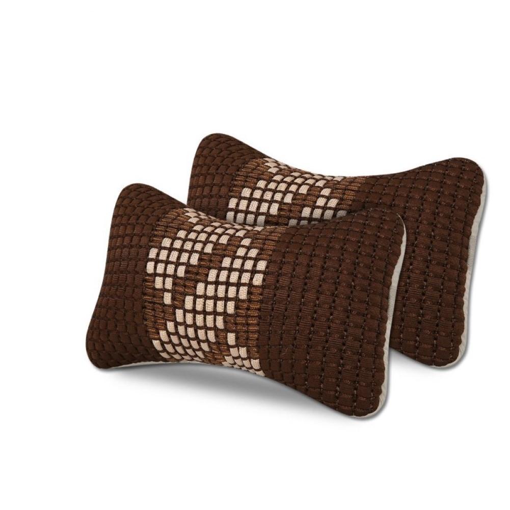 Car Headrest Machine Weaving Ice Silk Headrest Neck Support Summer Head Neck Pillow Brown