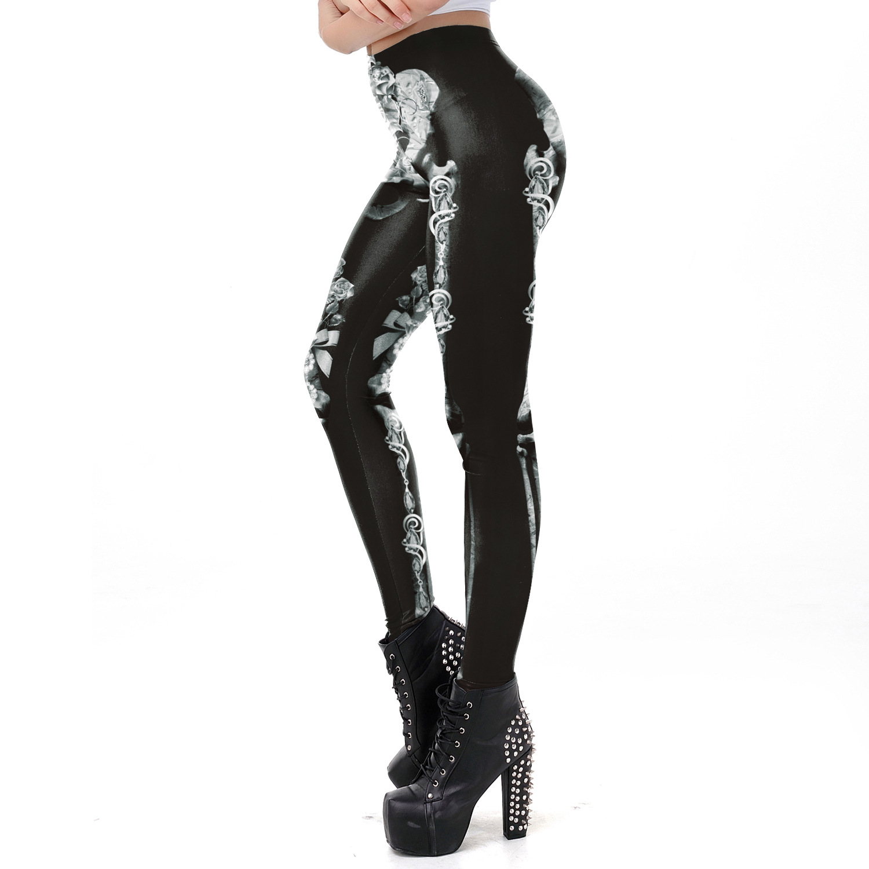 Female Human Skeleton Printing Slim Long Trousers Cosplay Costume for Halloween Festival  WKDK1038_M