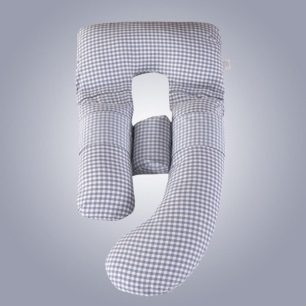 Multifunction Cotton Maternity Pillow G Shape Waist Abdomen Support Cushion blue