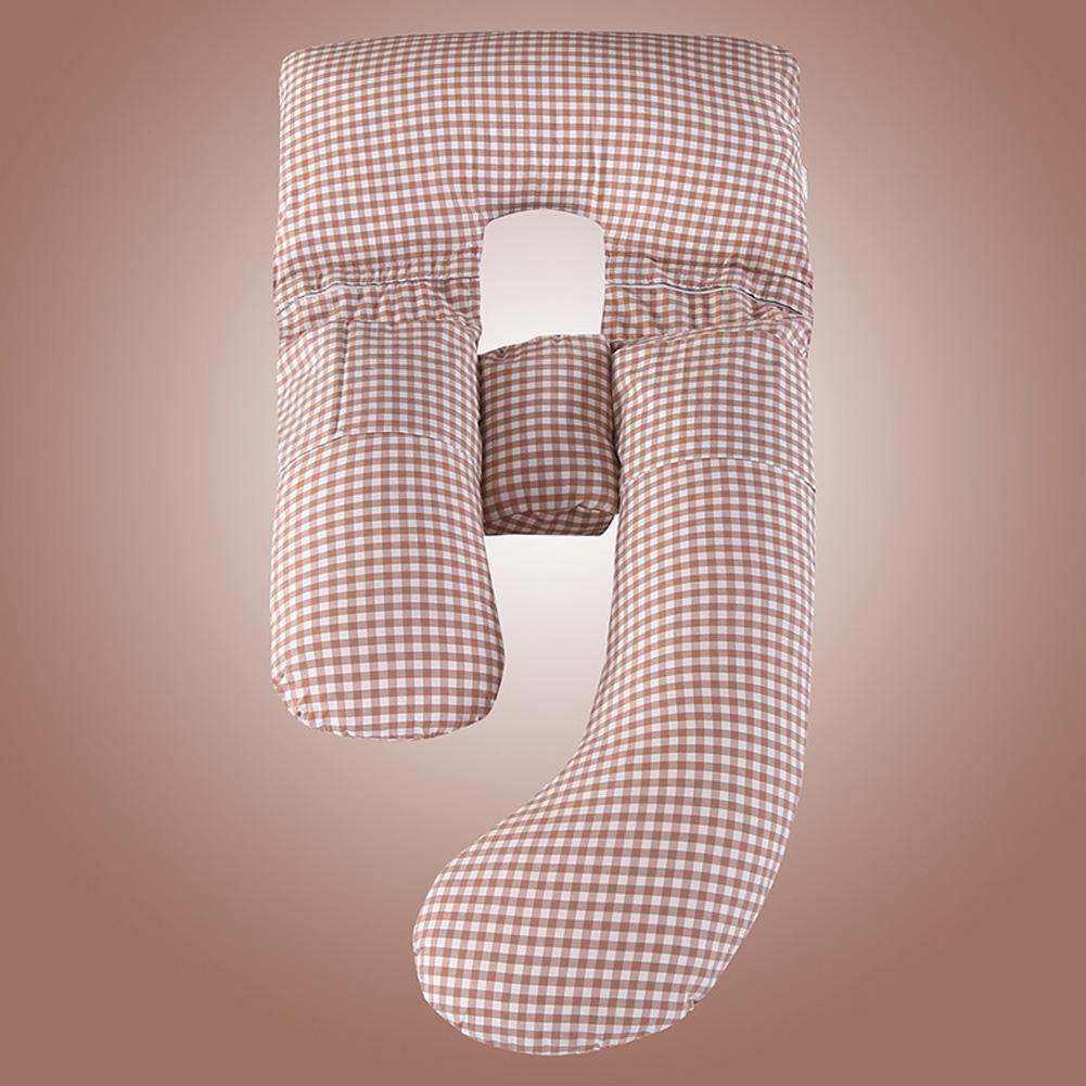 Multifunction Cotton Maternity Pillow G Shape Waist Abdomen Support Cushion Coffee