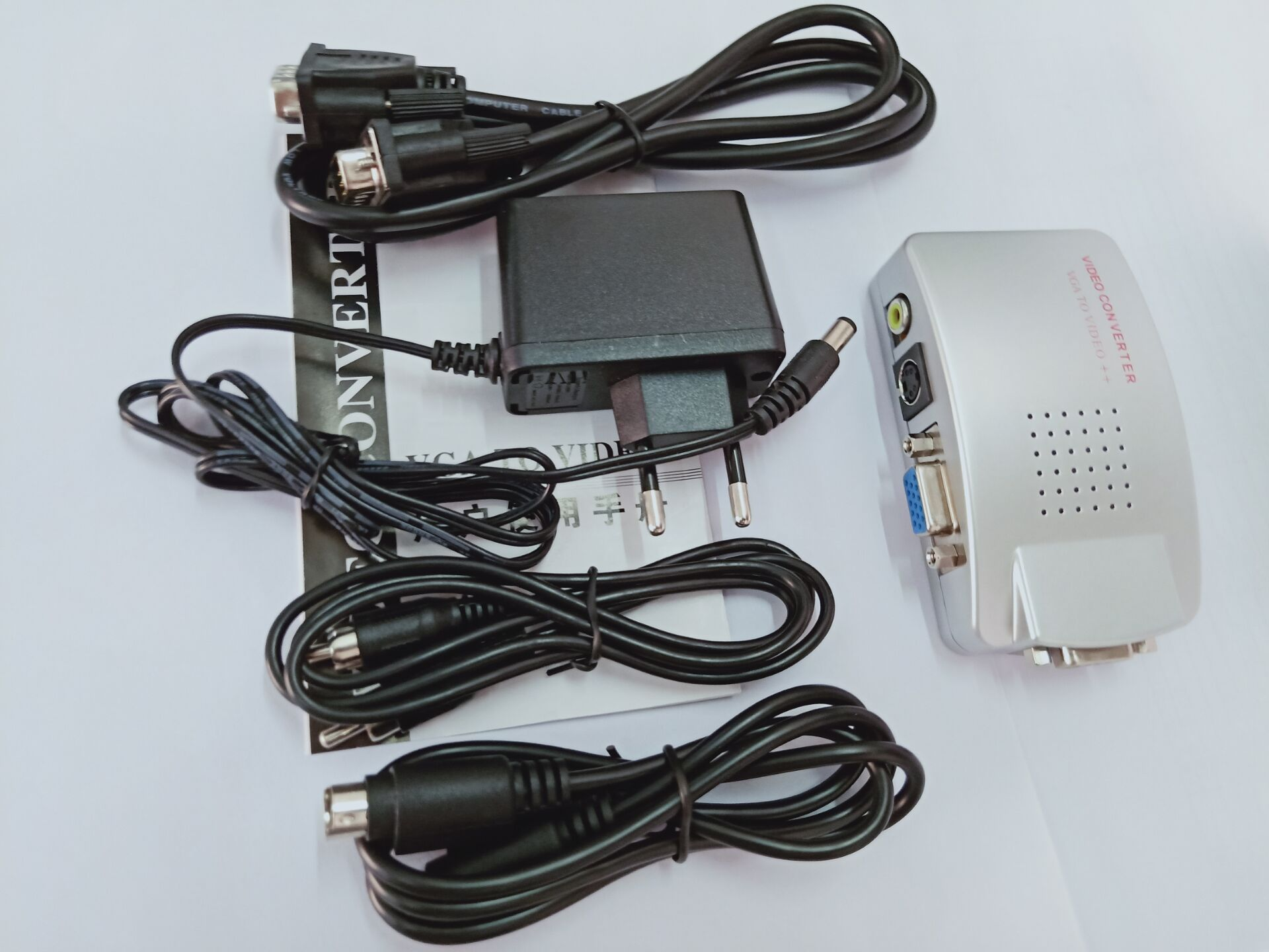 VGA to RCA Switch Box PC to TV AV Monitor Composite S Video Converter Adapter UK plug