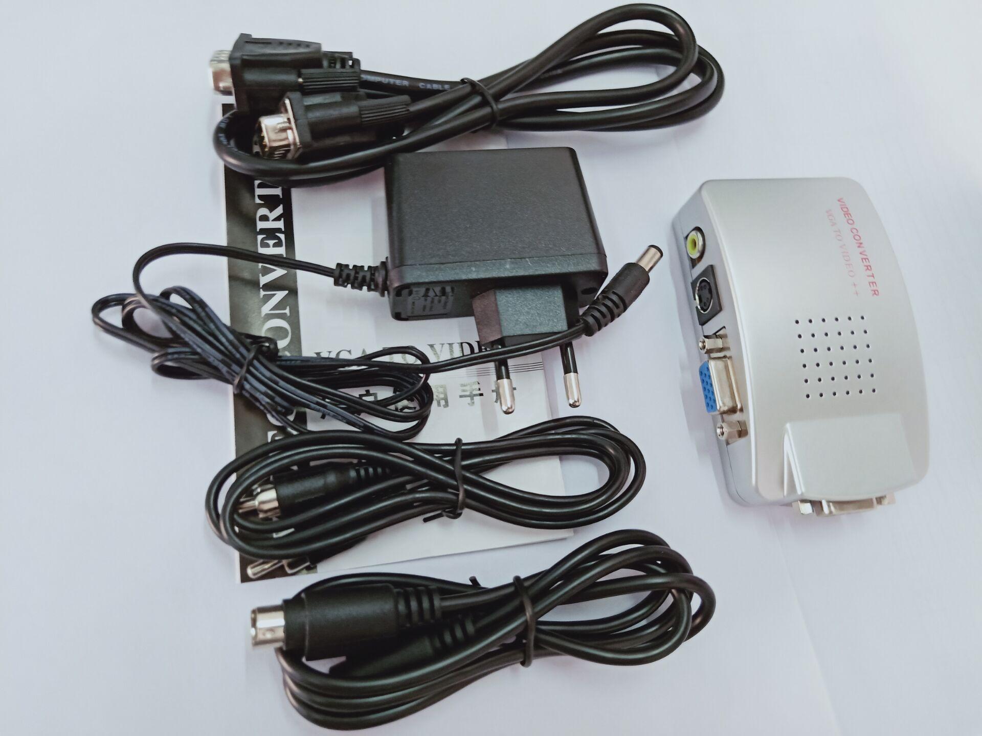 VGA to RCA Switch Box PC to TV AV Monitor Composite S Video Converter Adapter EU plug