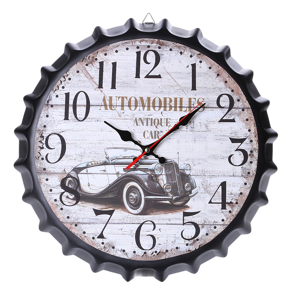 Metal Retro Bottle Cap Mute Wall Clock  Beer Bottle Cover Wall Clock Home Decoration Self-provided 1 AA Battery Style 2