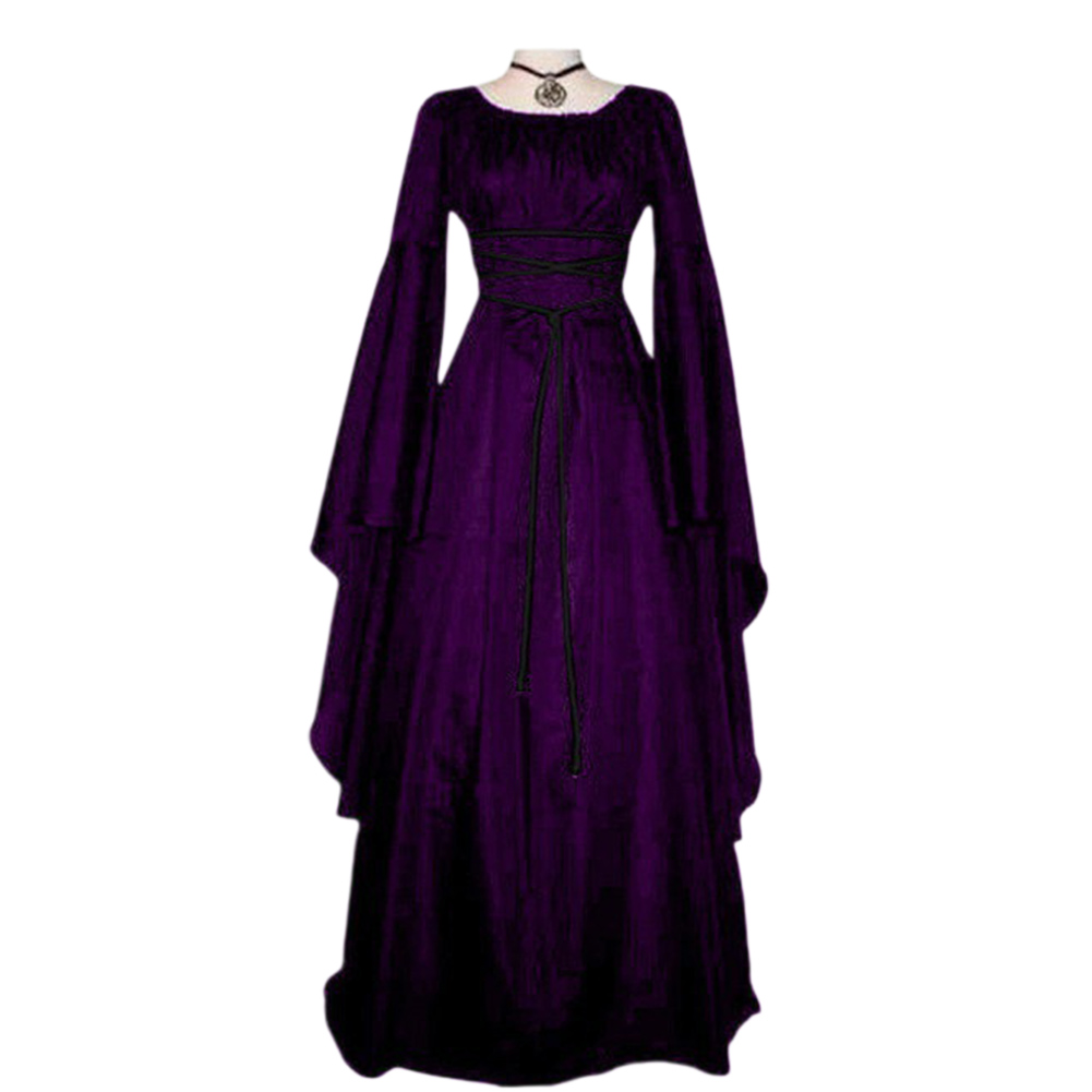 Female Royal Style Long Dress Long Sleeve Round Collar Irregular Cosplay Dress for Halloween Party purple_L