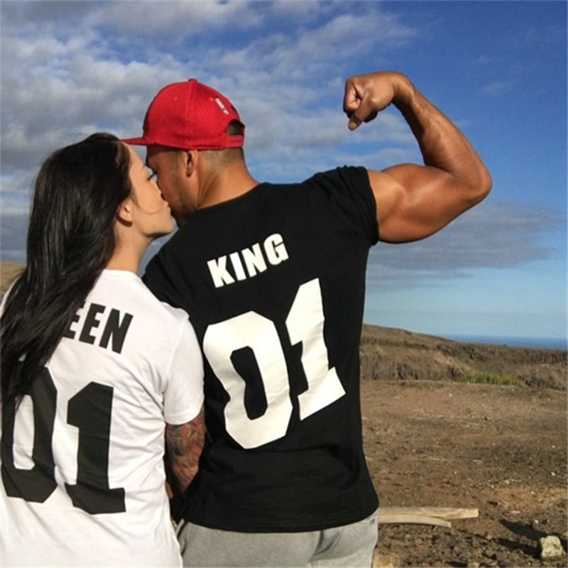 King Queen01 Printing Cotton Short Sleeve T-shirt for Couples Lovers