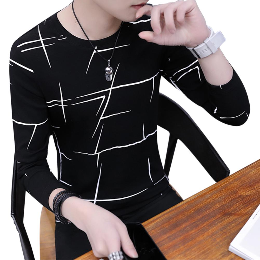 Men Fashion Long Sleeve T-shirt Printing Round Collar Slim Fit Casual Bottom Shirt  black_M