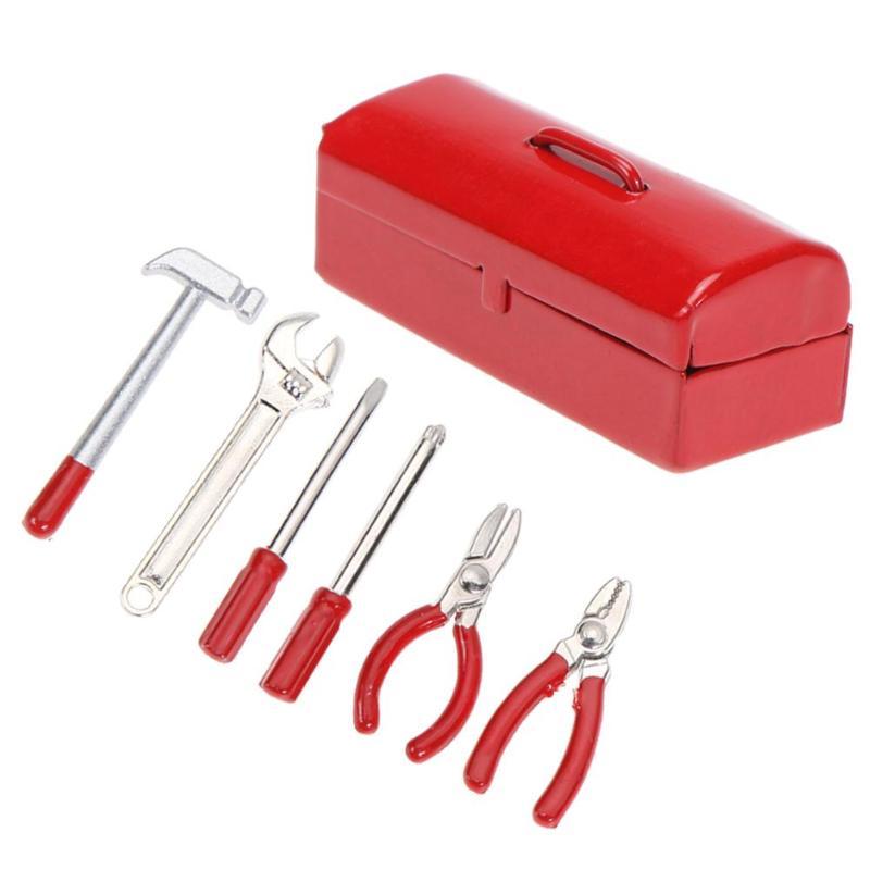 6Pcs/set Mini Hammer Wrench Repair Tools Box for 1:10 Simulation RC Crawler Car D90 SCX10 90046 red