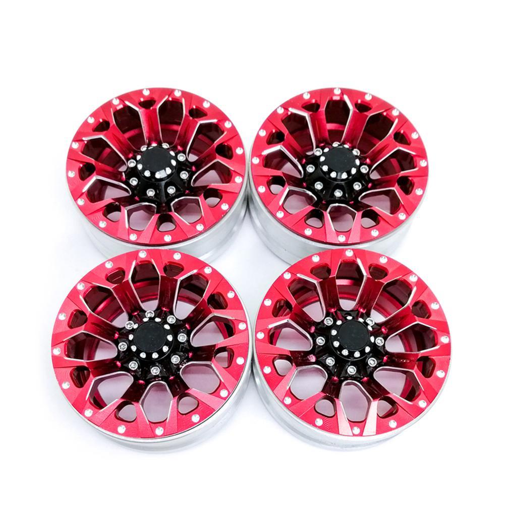 4Pcs/set 1.9in Alloy Wheel Rim Beadlock Simulation RC Car Part for 1:10 D90 4WD SCX10 TRX4 red