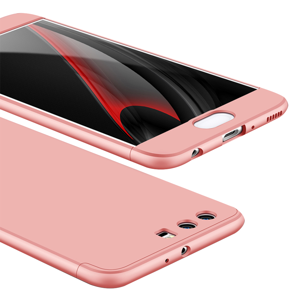 For HUAWEI P10 3 in 1 360 Degree Non-slip Shockproof Full Protective Case Rose gold