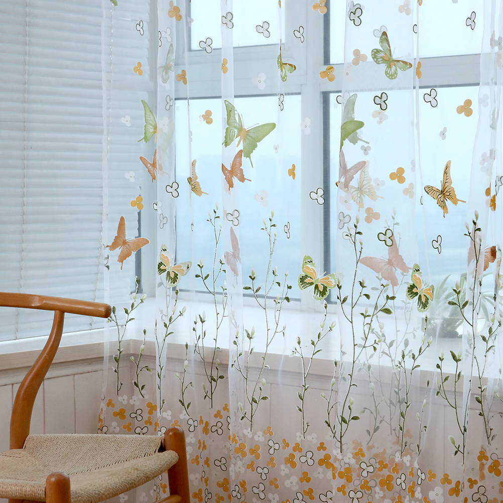 Window Curtain Branch Butterfly Offset Screen for Living Room Home Shading Decoration W100cm * H270cm (wearing rod)_green