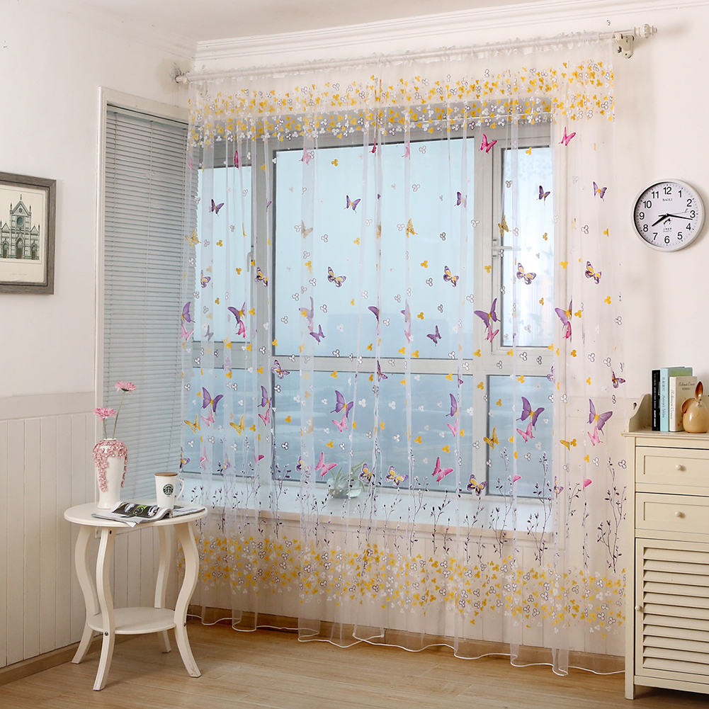 Window Curtain Branch Butterfly Offset Screen for Living Room Home Shading Decoration W100cm * H200cm (wearing rod)_rose Red