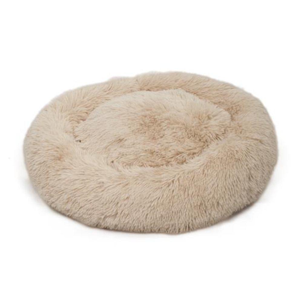[US Direct] Round Plush Pet Bed Fluffy Soft Warm Calming Bed Sleeping Nest For Dog Cat Khaki