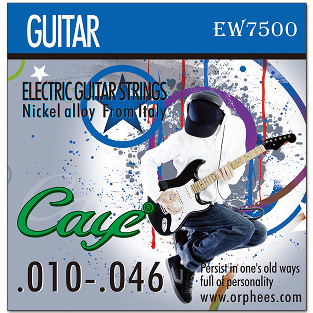 Caye EW Series 6 Pcs Electric Guitar Strings Hexagonal Carbon Steel Nickel Plating Guitar String EW7500