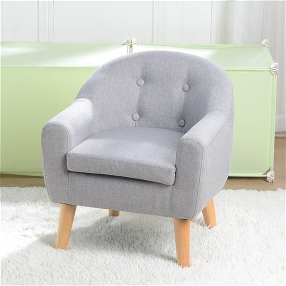 [US Direct] Children  Sofa For Single Kid With Detachable Cushion Household Furniture For Living Room gray