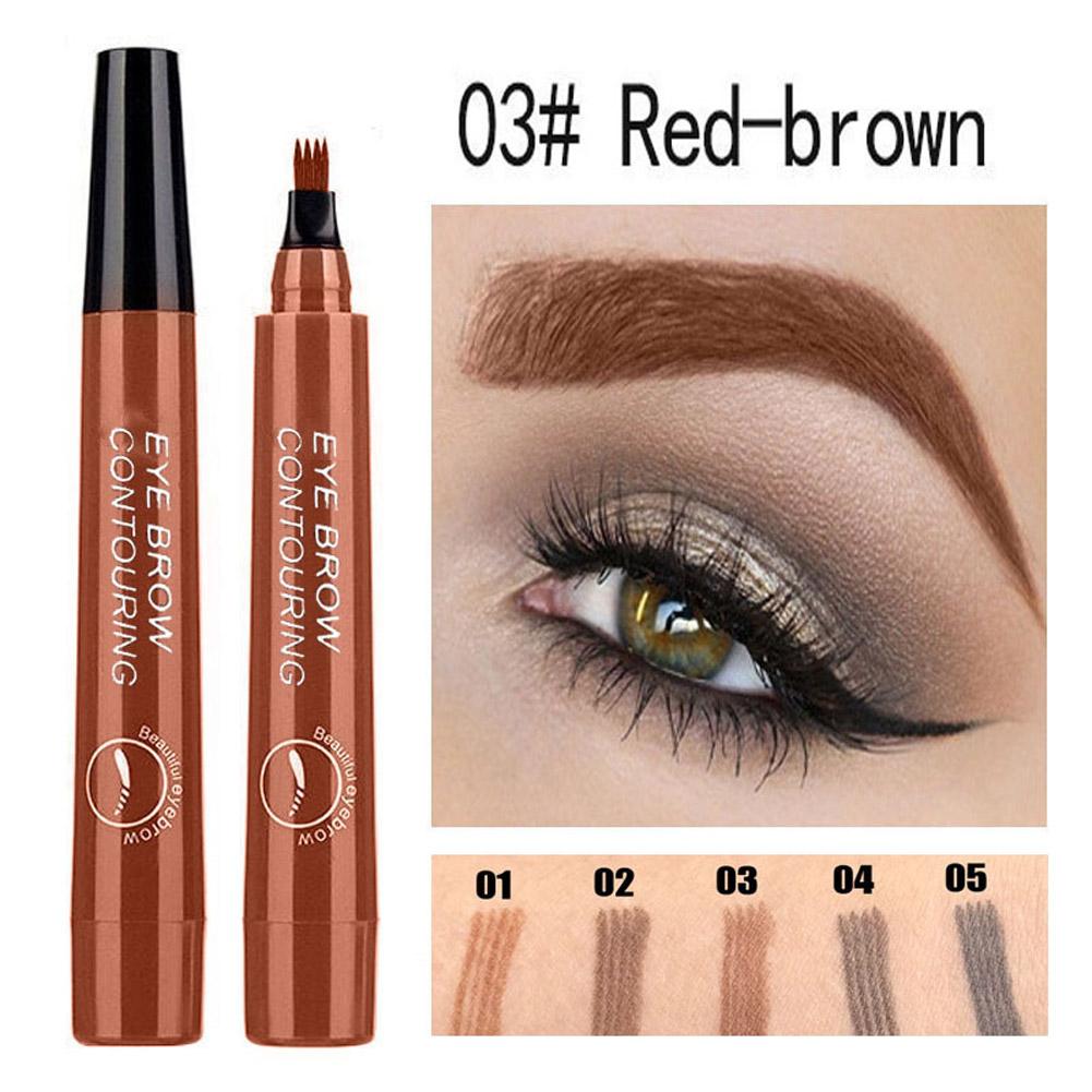 4 Colors 3D Microblading Eyebrow Tattoo Pen 4 Fork Tips Waterproof Fine Sketch Liquid Eyebrow Pencil  03 red brown