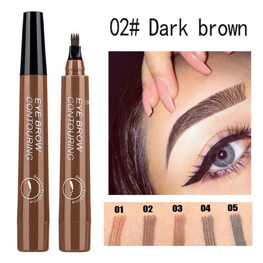 4 Colors 3D Microblading Eyebrow Tattoo Pen 4 Fork Tips Waterproof Fine Sketch Liquid Eyebrow Pencil  02 dark brown