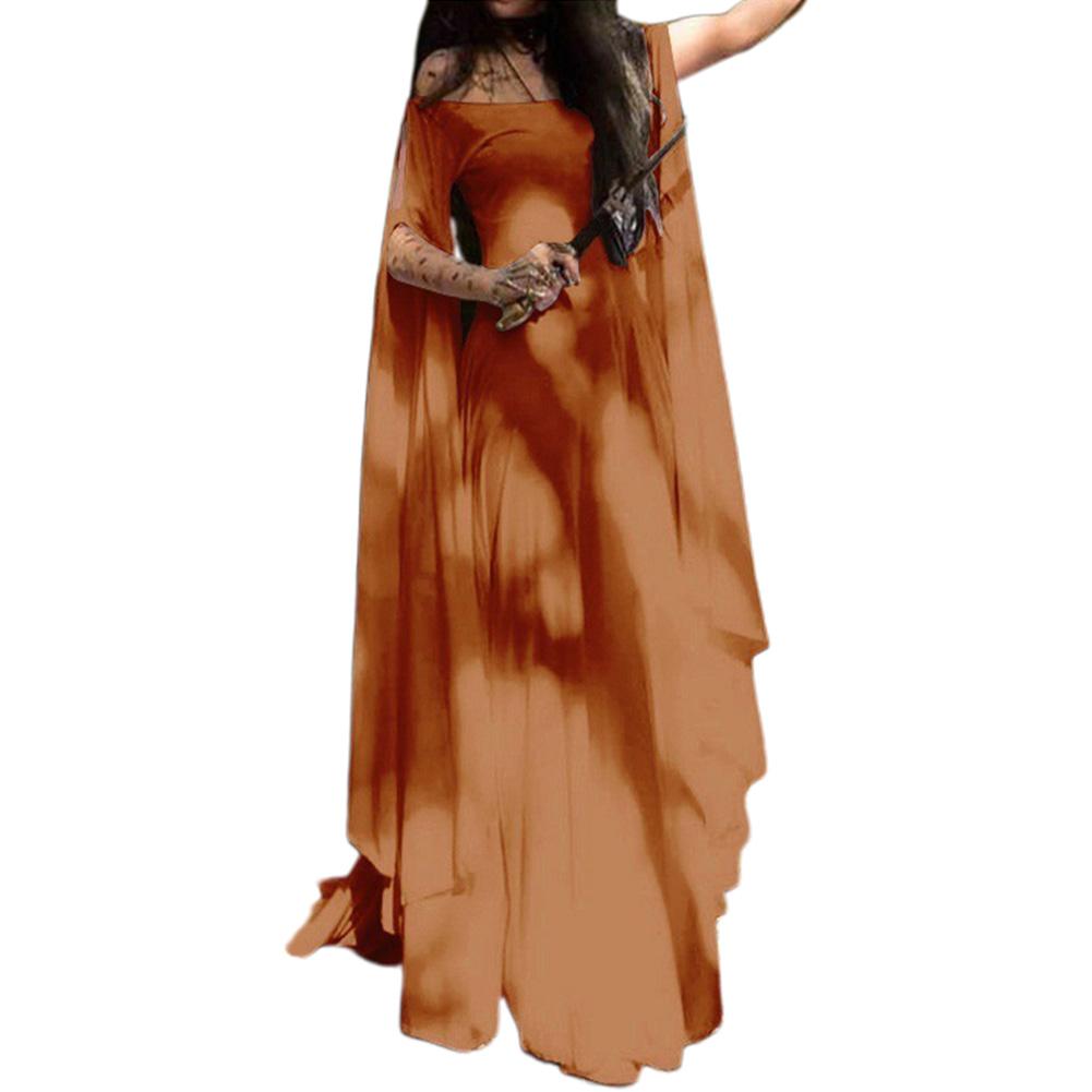 Party Long Sleeve Belt Ladies Dress Halloween Dress Orange_L