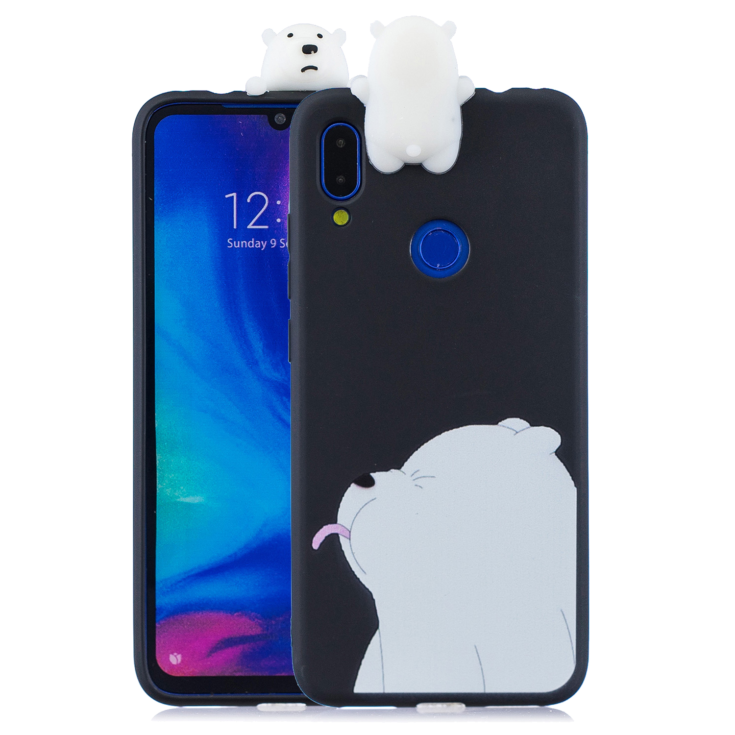 For Redmi NOTE 7 3D Cute Coloured Painted Animal TPU Anti-scratch Non-slip Protective Cover Back Case black
