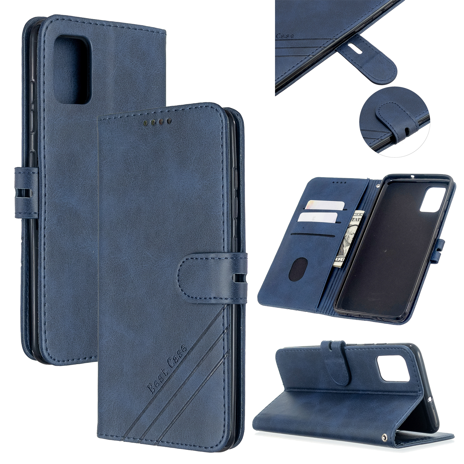 For Samsung A51/A71/M30S Case Soft Leather Cover with Denim Texture Precise Cutouts Wallet Design Buckle Closure Smartphone Shell  blue