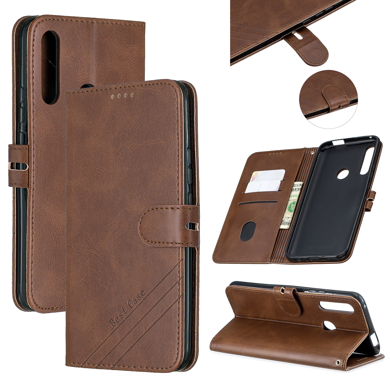 For HUAWEI Y9 Prime 2019-P Smart Z Solid Color Denim Grain Front Buckle Mobile Phone Cover Bracket brown
