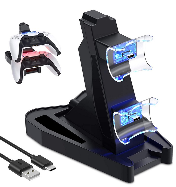 Controller Charger for PS5  Double USB Fast Charging Docking Station Stand & LED Indicator for PS 5 Controllers black