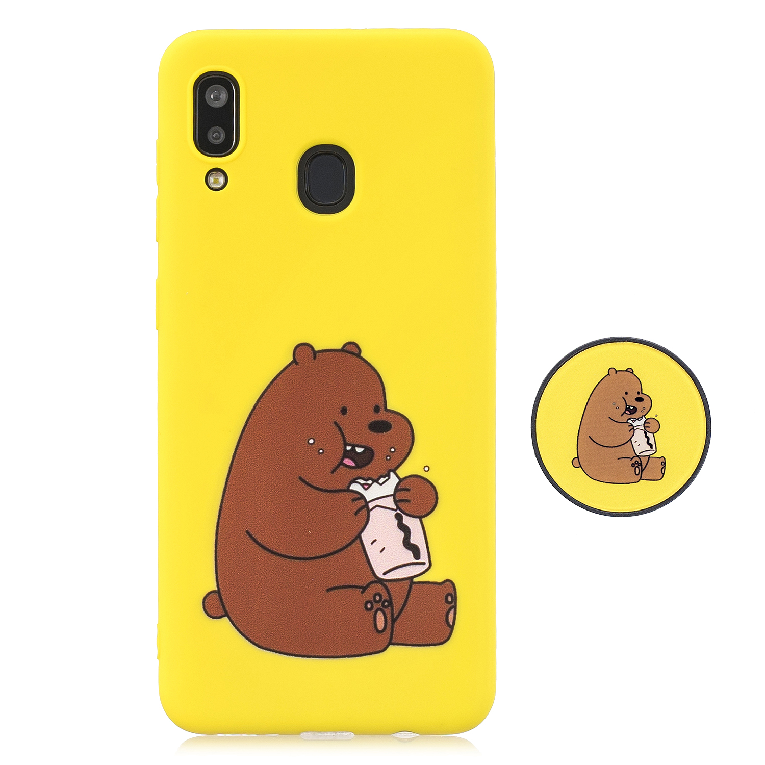 For Samsung A30 A20 TPU Full Cover Cartoon Pattern Solid Color Protective Phone Case with Adjustable Bracket 8