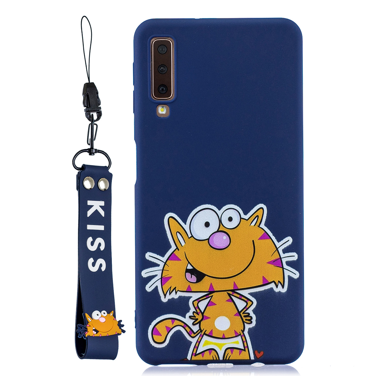 For Samsung A7 2018 Cartoon Lovely Coloured Painted Soft TPU Back Cover Non-slip Shockproof Full Protective Case with Lanyard sapphire