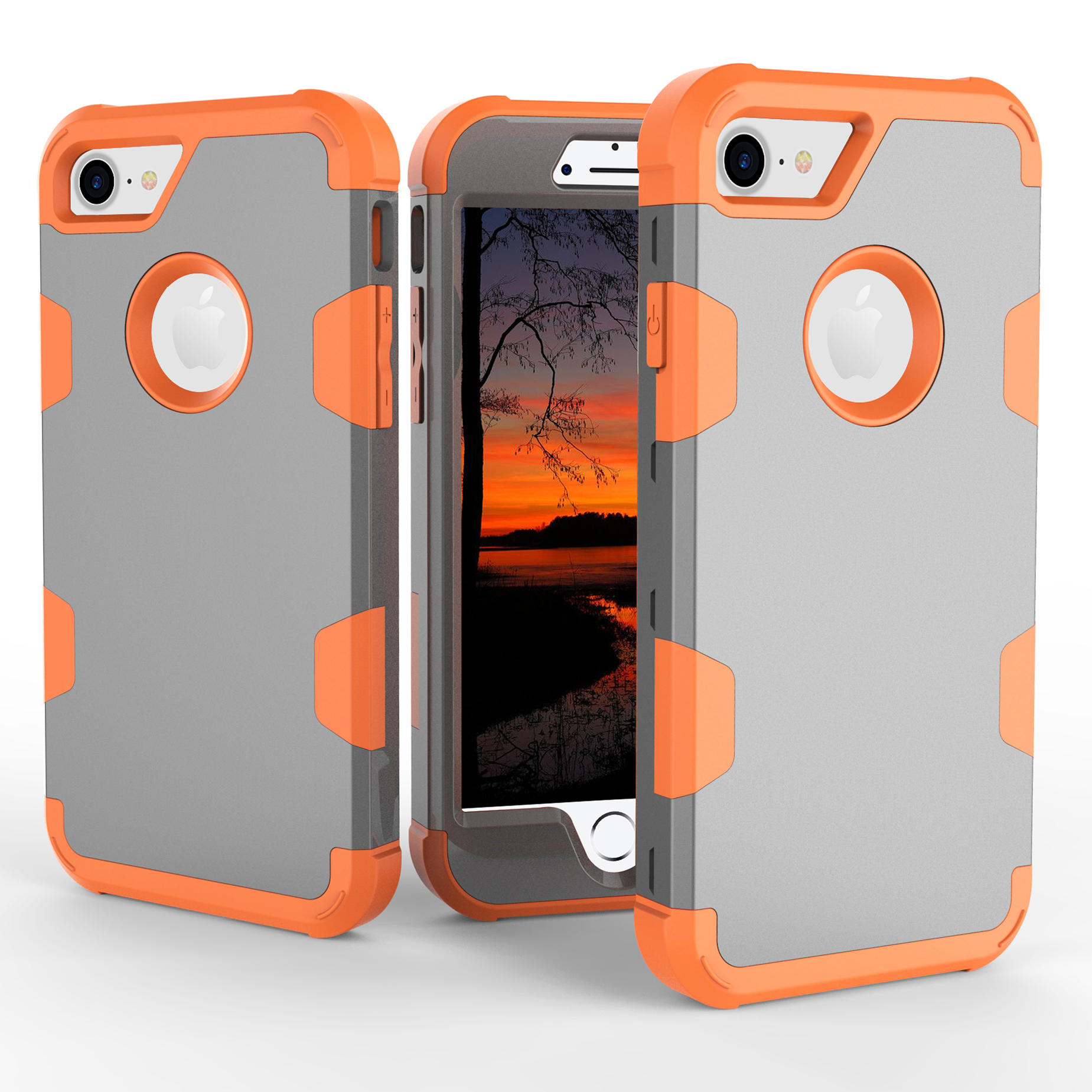 For iPhone 7 PC+ Silicone 2 in 1 Hit Color Tri-proof Shockproof Dustproof Anti-fall Protective Cover Back Case Gray + orange
