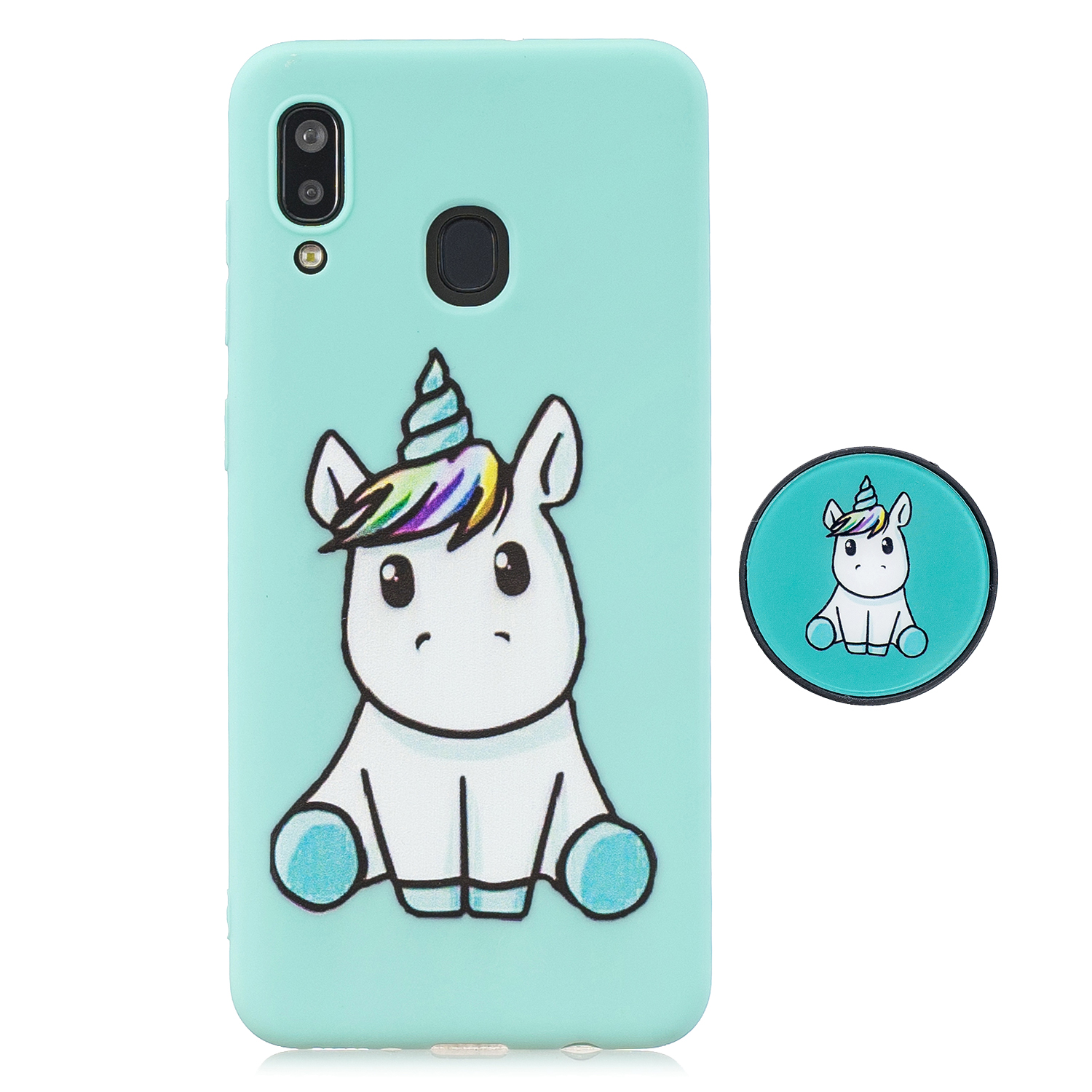 For Samsung A30 A20 TPU Full Cover Cartoon Pattern Solid Color Protective Phone Case with Adjustable Bracket 5