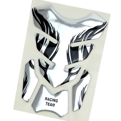3D Motorcycle Fuel Decal Pad Protector Cover Sticker Decoration Decals Silver
