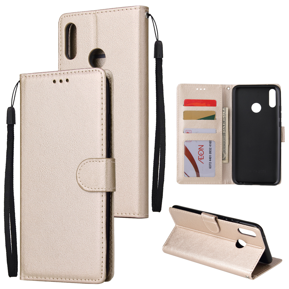 For HUAWEI Y9 2019 Flip-type Leather Protective Phone Case with 3 Card Position Buckle Design Phone Cover  Gold