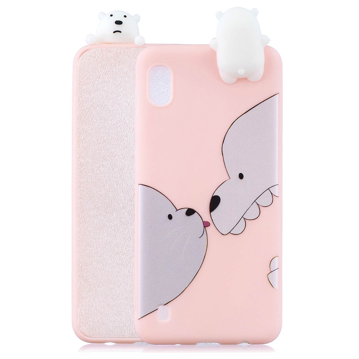 For Samsung A01 Soft TPU Case Back Cover 3D Cartoon Painting Mobile Phone Shell Big white bear