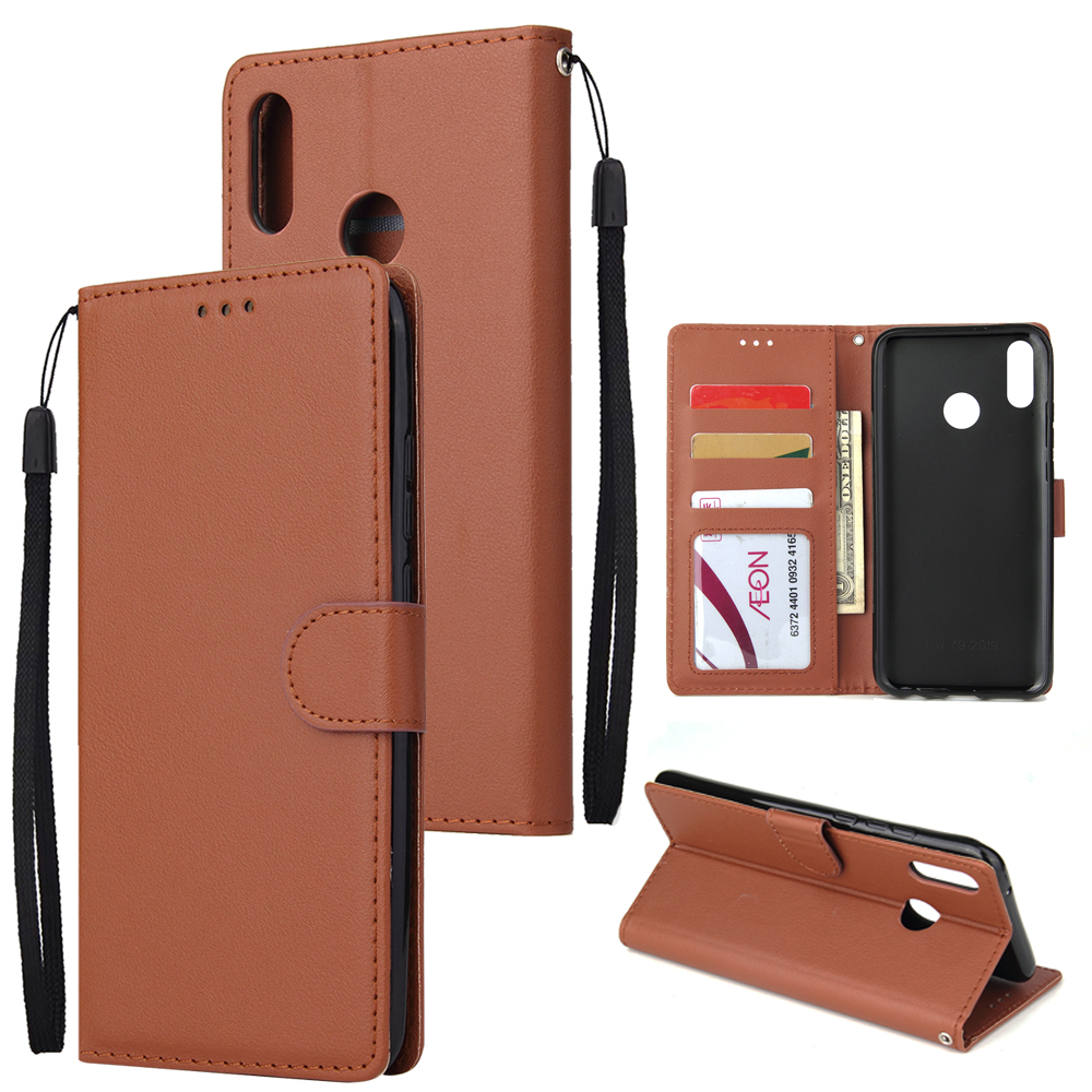 For HUAWEI Y9 2019 Flip-type Leather Protective Phone Case with 3 Card Position Buckle Design Phone Cover  brown