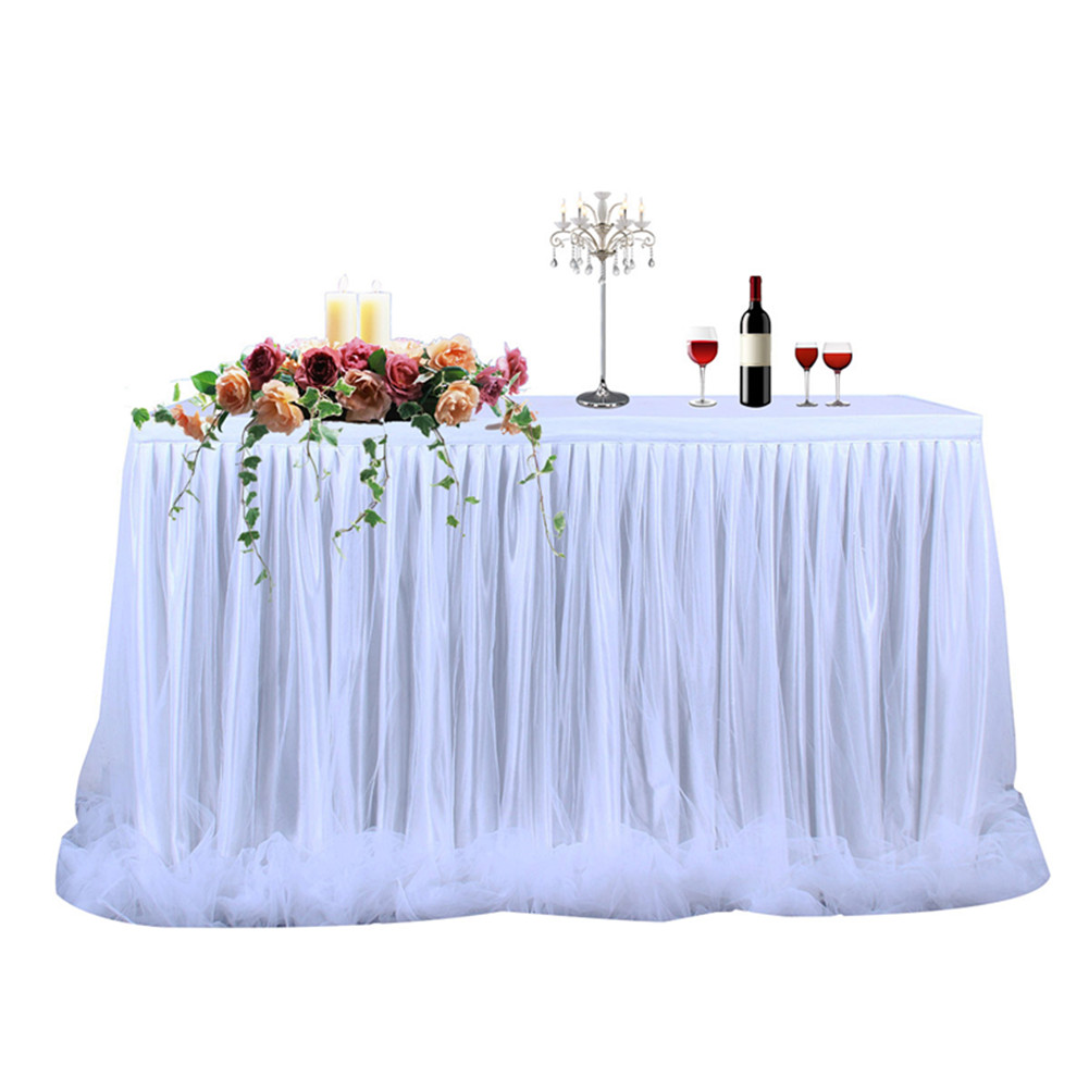 Threaded Ribbon Table Skirt with Tulle Elegant Party Wedding Table Decoration(Long Tulle) white_9FT