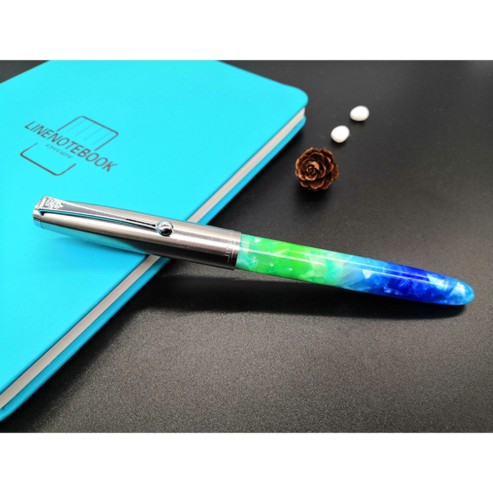 Acrylic Pen Classic Translucent Business Signature Student Pen for School Office Fluorescent Blue Acrylic_Dark tip 0.8MM