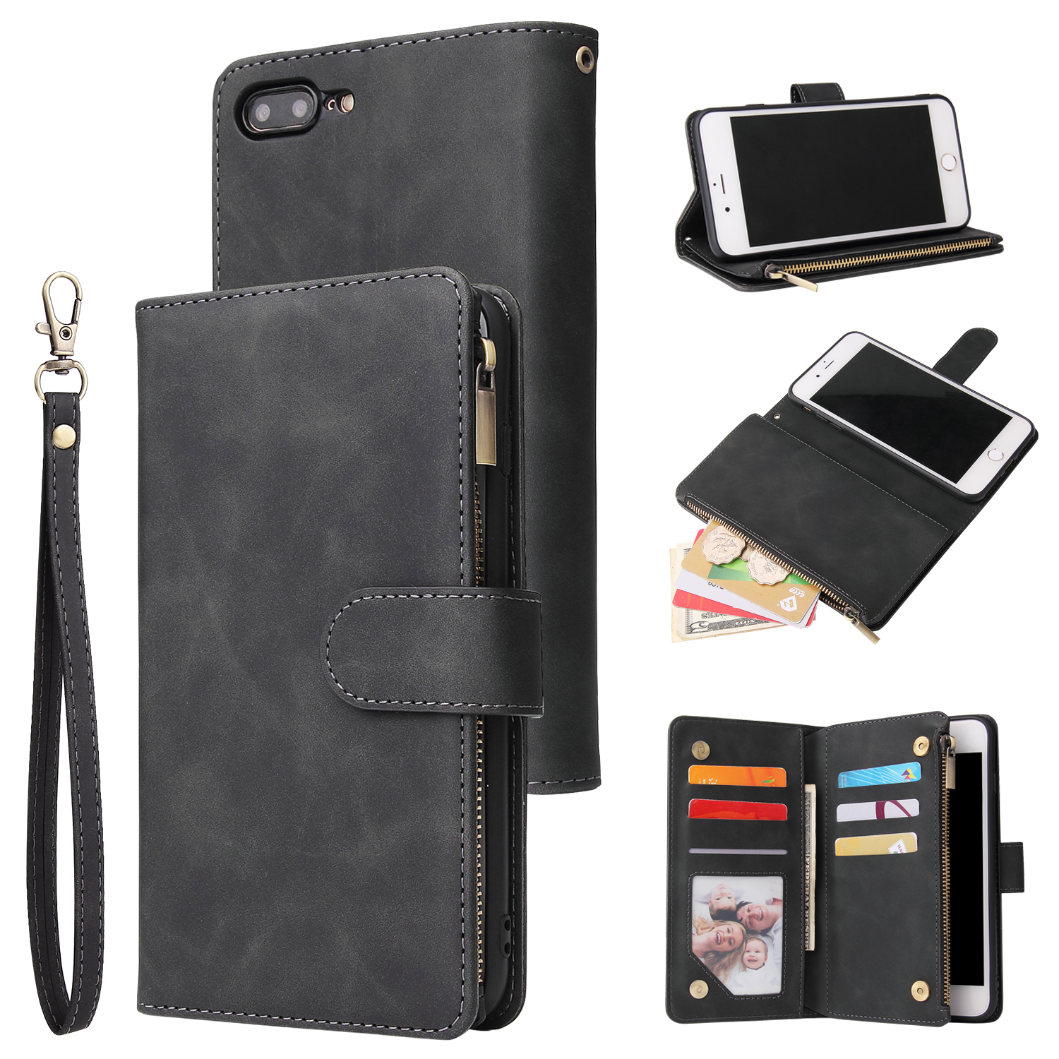 For iPhone 6 / 6S iPhone 6 plus / 6S plus iPhone 7 / 8 iPhone 7 plus / 8 plus Smart Phone Cover Coin Pocket with Cards Bracket Zipper Phone PU Leather Case Phone Cover  iPhone 7 plus / 8 plus