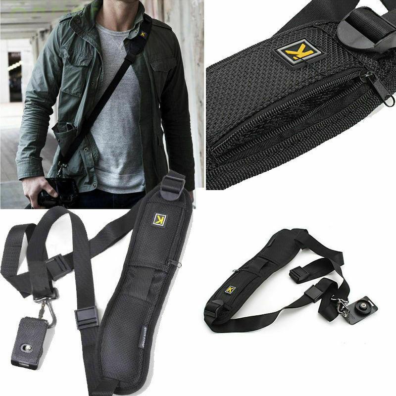 Quick Strap Camera Single Shoulder Belt Sling for SLR DSLR Cameras Canon Sony Nikon black