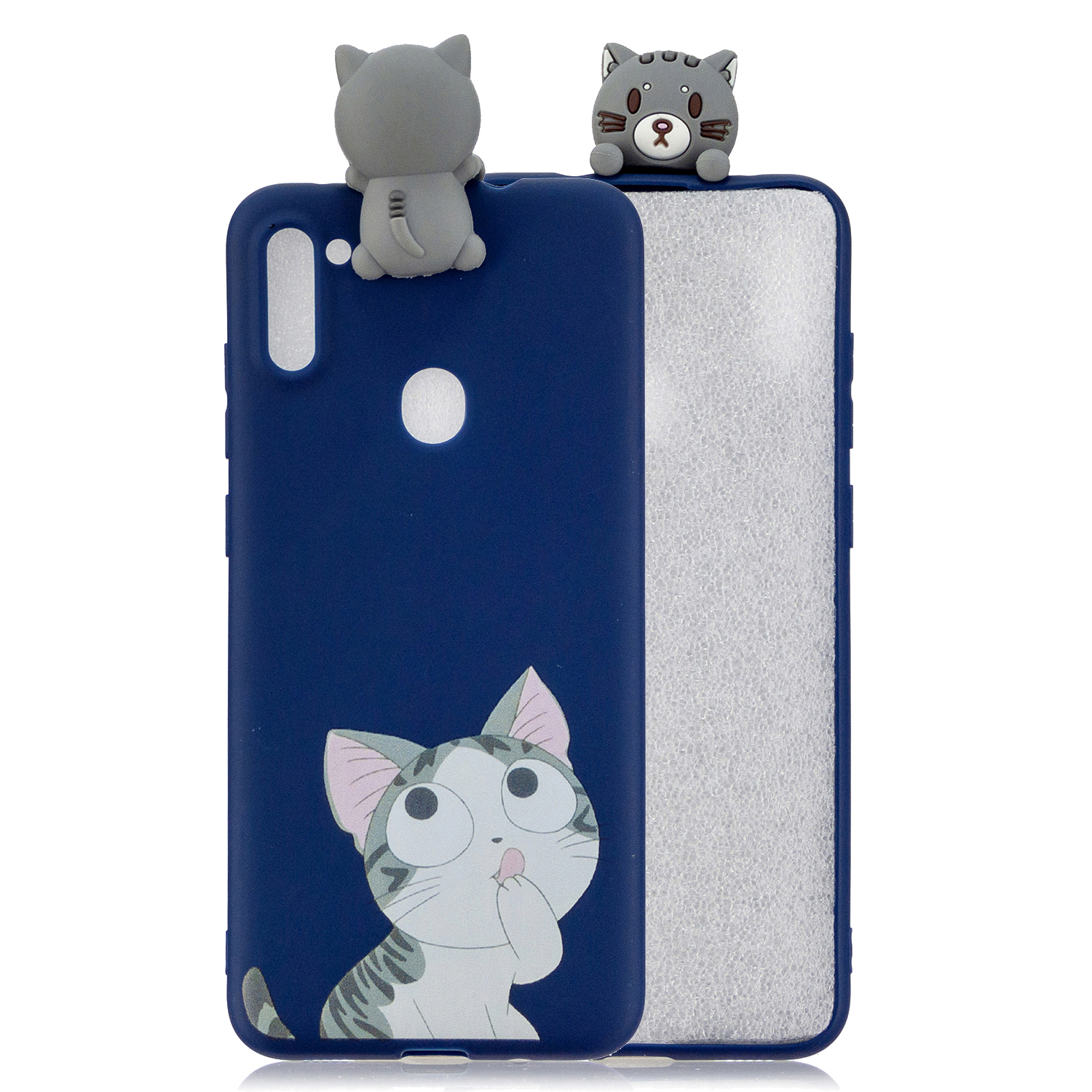 For Samsung A11 TPU Back Cover 3D Cartoon Painting Soft Mobile Phone Case Shell big face cat