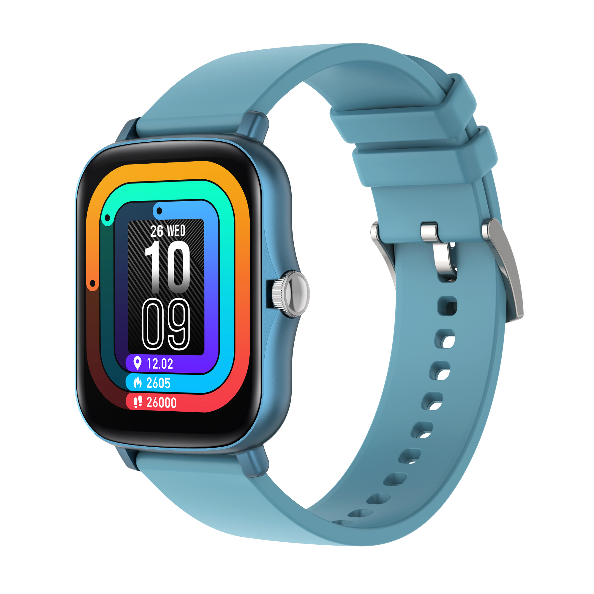 1.7 Inch HD Screen Y20 Smart Watch Men Rotate Button IP67 Waterproof Smartwatch blue