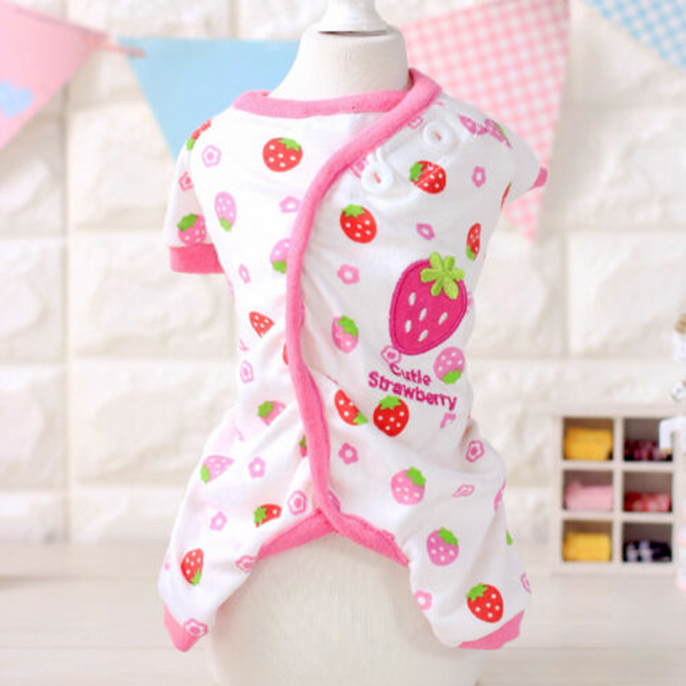 Cute Printing Cotton Pet Dog Four Feets Coat Pajamas red_M
