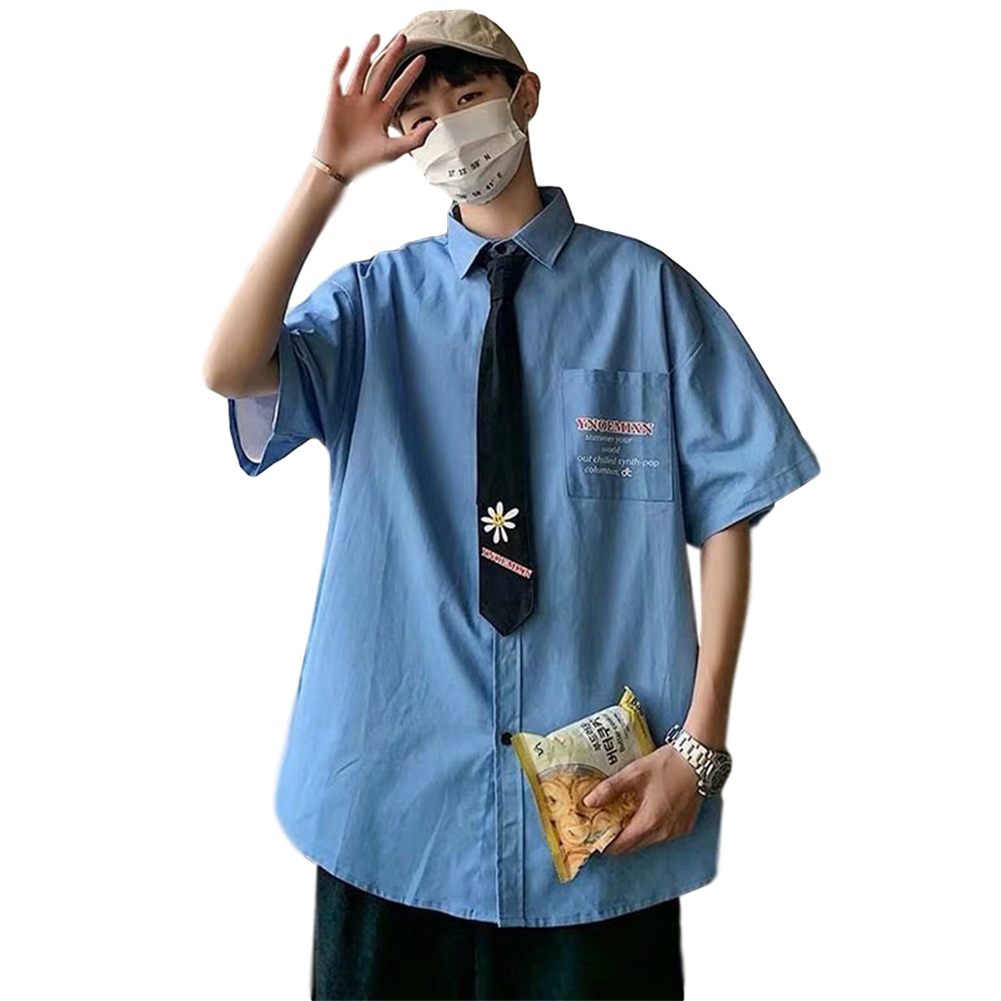 Men's Shirt Summer Daisy Pattern Loose Short-sleeve Uniform Shirts with Tie Blue_M