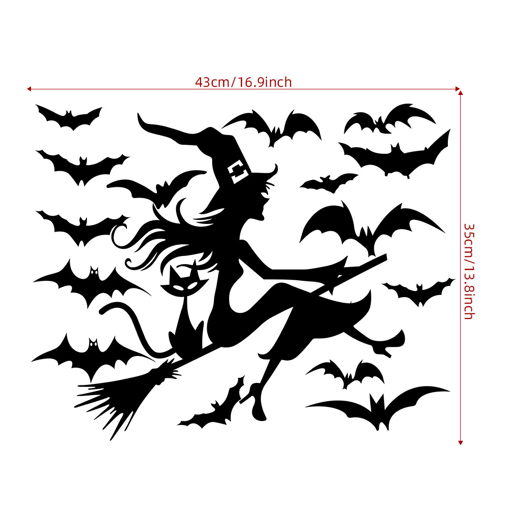 Bat/Witch/Cat Wall Sticker Decal for Home Halloween Party Decoration  AFH2106 43X35cm