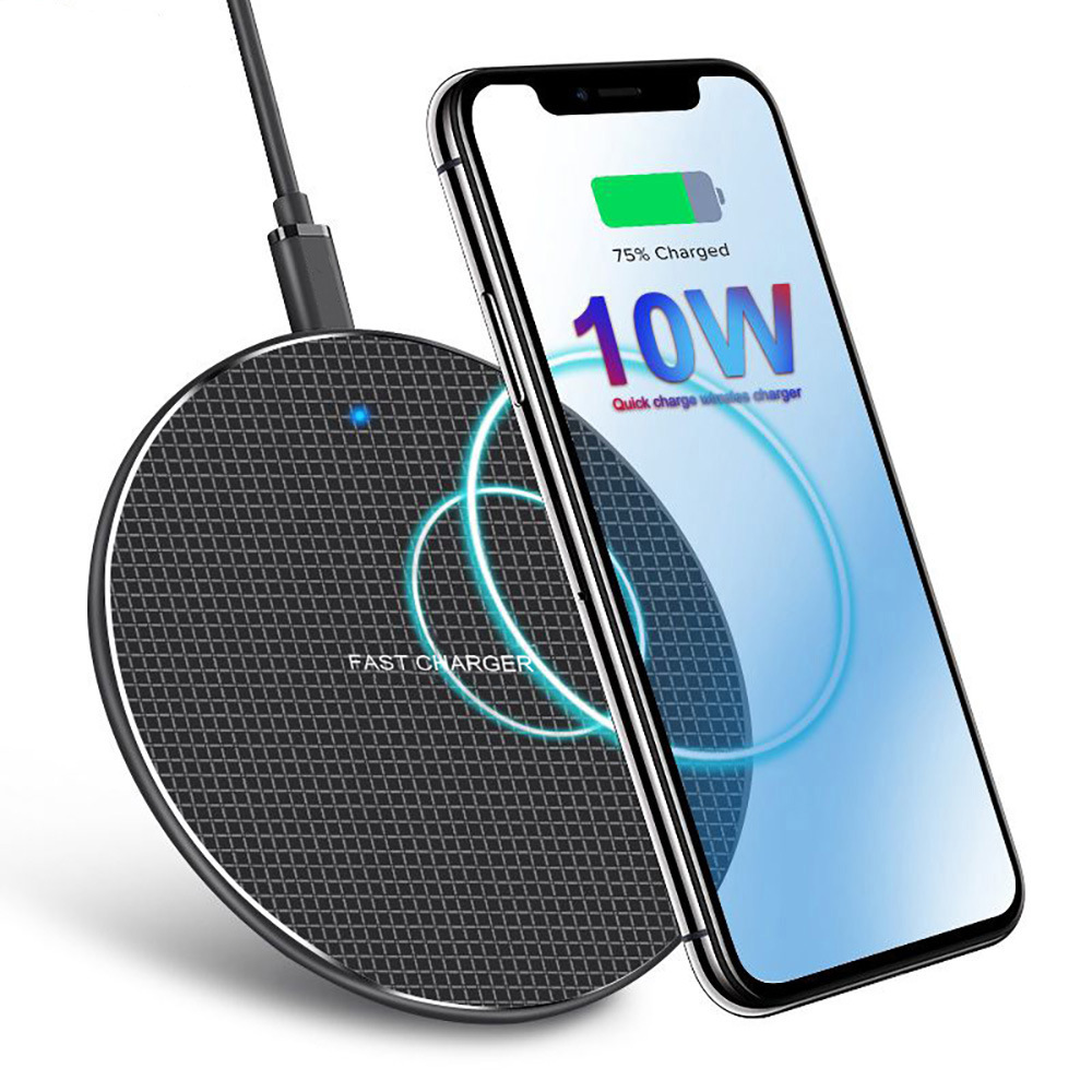 10W Super Thin Qi Wireless Phone Charger Pad Fast Charging Phone Holder  black